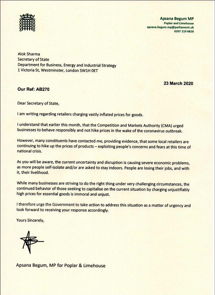 Letter to Alok Sharma