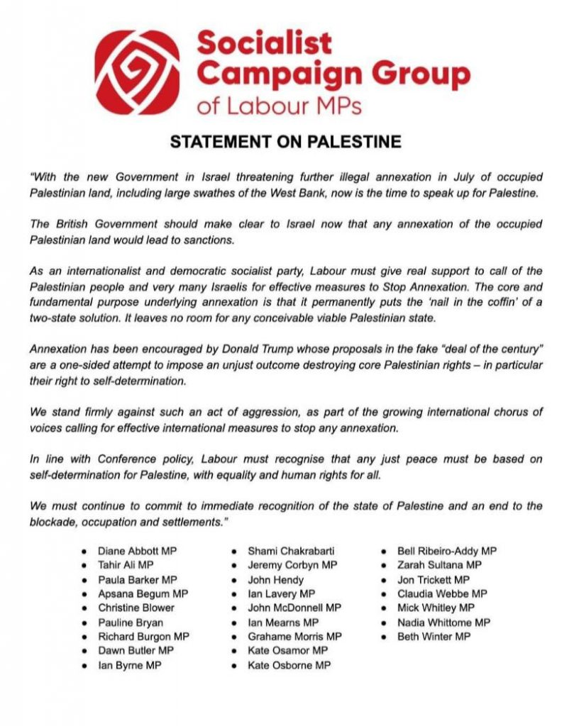 Socialist Campaign Group statement on Palestine