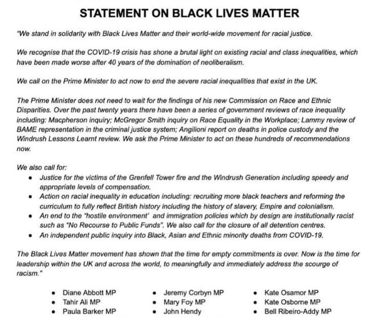 Socialist Campaign Group statement on Black Lives Matter